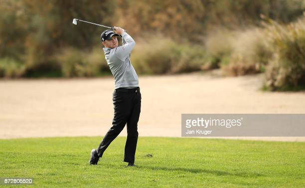 Nathan Kimsey of England in action during the first round of the European Tour Qualifying School Final Stage at Lumine Golf Club on November 11 2017...