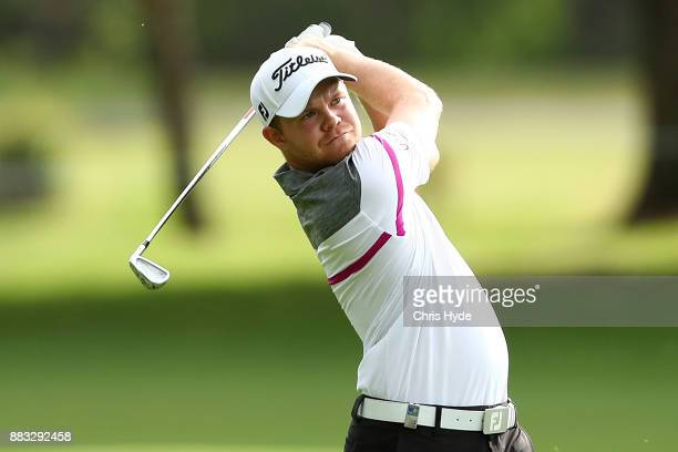 Nathan Kimsey of England plays his second shot during day two of the Australian PGA Championship at Royal Pines Resort on December 1 2017 in Gold...