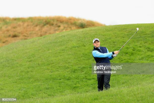Nathan Kimsey of England plays out of the rough during day three of the HNA Open de France at Le Golf National on July 1 2017 in Paris France