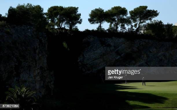 Nathan Kimsey of England putts during round three of the European Tour Qualifying School Final Stage at Lumine Golf Club on November 13 2017 in...