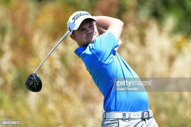 Nathan Kimsey of England tees off during the first round of the Rocco Forte Open at Verdura Golf and Spa Resort on May 18 2017 in Sciacca Italy