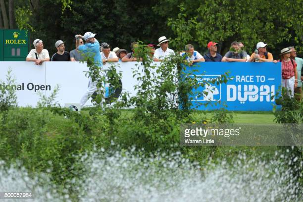 Nathan Kimsey of England tees off on the 10th hole during day two of the BMW International Open at Golfclub Munchen Eichenried on June 23 2017 in...