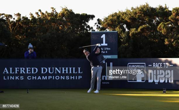 Nathan Kimsey of England tees off on the 1st during day one of the 2017 Alfred Dunhill Championship at Kingsbarns on October 5 2017 in St Andrews...