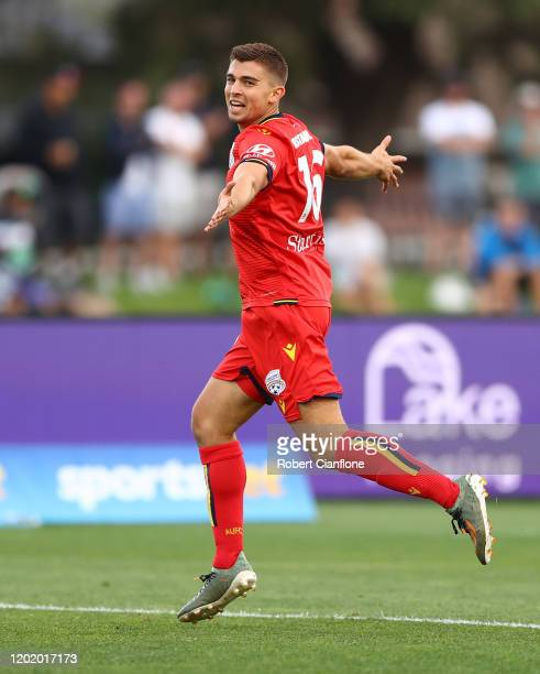 Nathan Konstandopoulos of Adelaide United celebrates after scoring a goal during the round 16 A-League match between Western United and Adelaide...