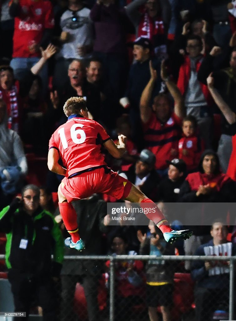 Nathan Konstandopoulos of Adelaide United celebrates scoring a goal during the round 25 A-League match between Adelaide United and the Wellington Phoenix at Coopers Stadium on March 30, 2018 in Adelaide, Australia.