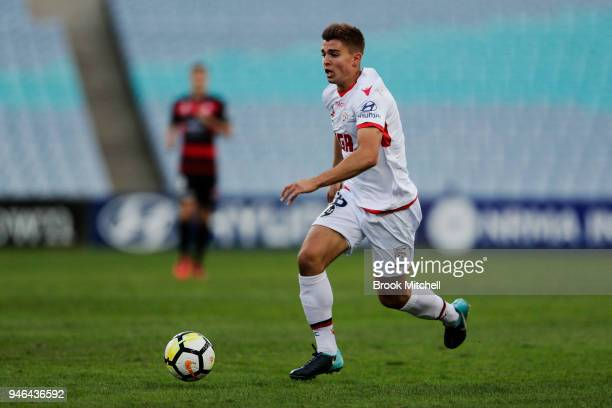 Nathan Konstandopoulos of Adelaide United controls the ball during the round 27 ALeague match between the Western Sydney Wanderers and Adelaide...