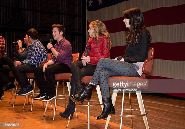 Nathan Kress addresses the crowd during a question and answer session at Naval Submarine Base New London on January 11 2012 in Groton Connecticut The...
