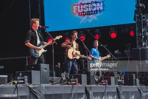 Nathan Lambert Alec McGarry and Ryan Meaney of New Rules perform on stage during day 3 of Fusion Festival 2019 on September 01 2019 in Liverpool...