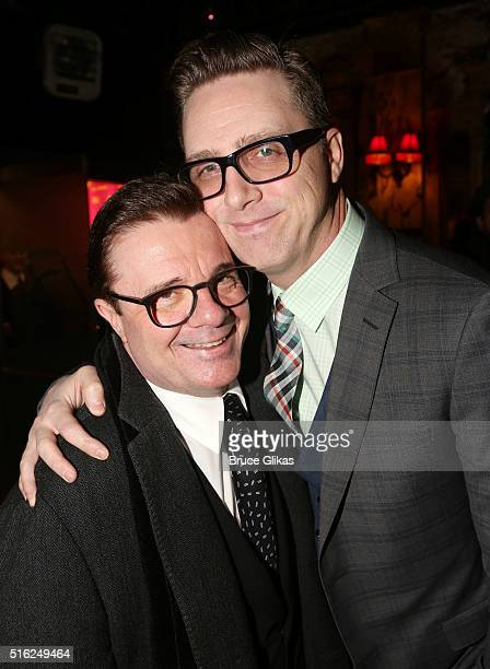 Nathan lane and husband Devlin Elliott pose at The Opening Night Arrivals for She Loves Me on Broadway at Studio 54 on March 17 2016 in New York City