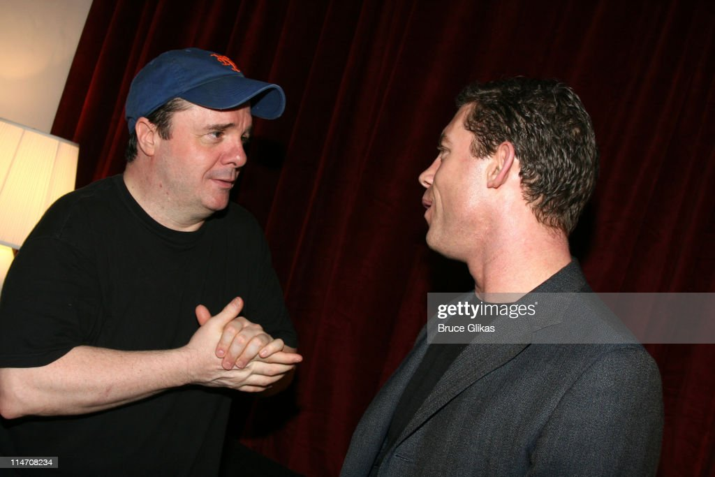 "Lee Evans Visits his Film and Stage Costar, Nathan Lane, Backstage at ""The Odd"