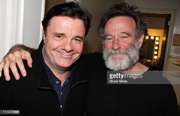 Nathan Lane and Robin Williams pose backstage at the hit play Bengal Tiger at the Baghdad Zoo at The Richard Rogers Theater on April 2 2011 in New...