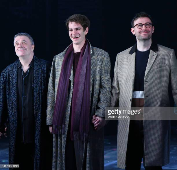 Nathan Lane Andrew Garfield and James McArdle during the 'Angels in America' Broadway Opening Night Curtain Call Bows at the Neil Simon Theatre on...