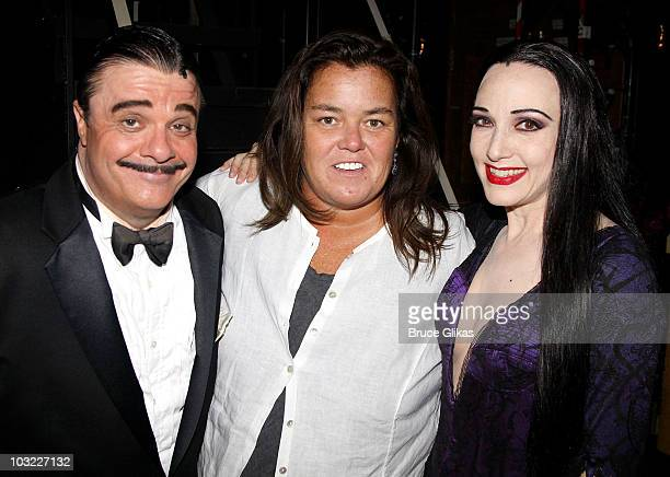 COVERAGE*** Nathan Lane as Gomez Rosie O'Donnell and Bebe Neuwith as Morticia pose backstage at The Addams Family on Broadway at the LuntFontanne...