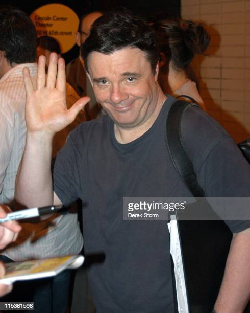 Nathan Lane during Nathan Lane and Chris Kattan Exit the Vivian Beaumont Theater after The Frogs July 5 2004 at The Frogs at the Vivian Beaumont...