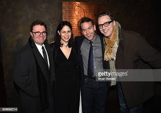 Nathan Lane Jen Stein Mike Birbiglia and and Devlin Elliott attend Mike Birbiglia Thank God For Jokes Opening Night at the Lynn Redgrave Theatre on...