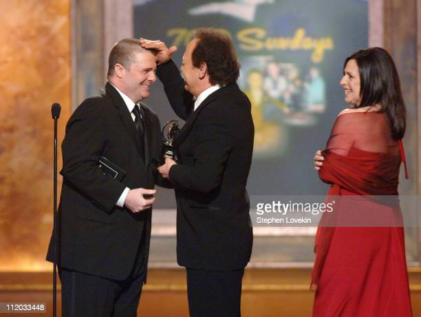 """Nathan Lane presents Billy Crystal and Janice Crystal the Tony for Best Special Theatrical Event for """"700 Sundays"""""""