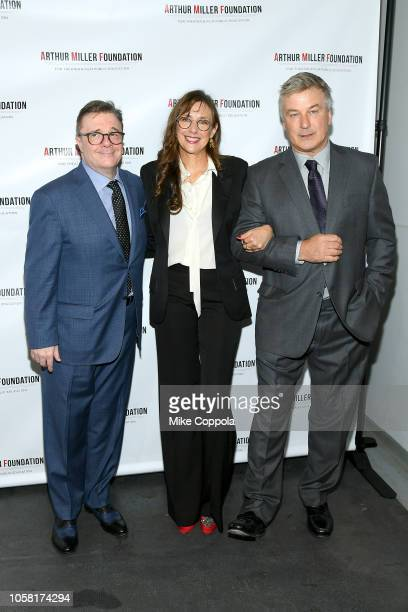 Nathan Lane Rebecca Miller and Alec Baldwin attend the 2018 Arthur Miller Foundation Honors at City Winery on October 22 2018 in New York City