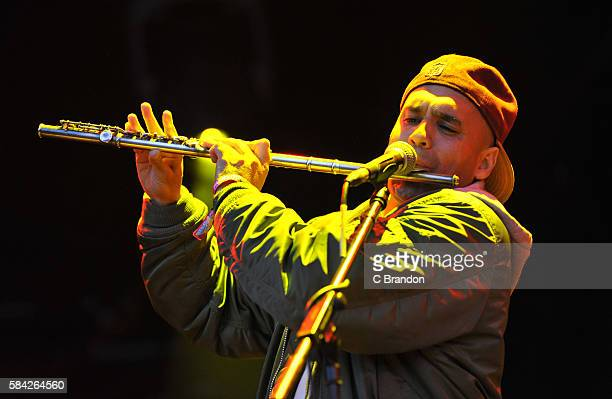 Nathan Lee of Asian Dub Foundation Headlines on the Open Air Stage during Day 1 of the Womad Festival at Charlton Park on July 28 2016 in Wiltshire...