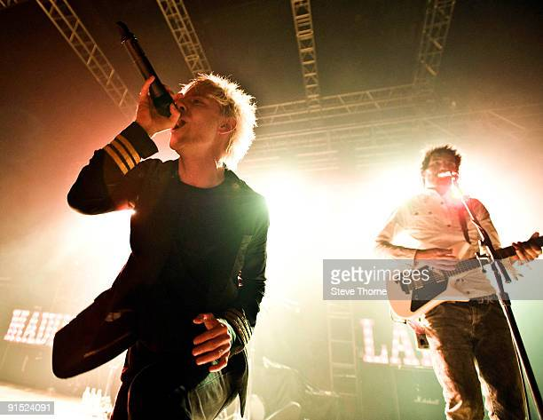 Nathan Leone and Mateo Camargo of Madina Lake perform on stage at the Civic Hall on October 6, 2009 in Wolverhampton, England.