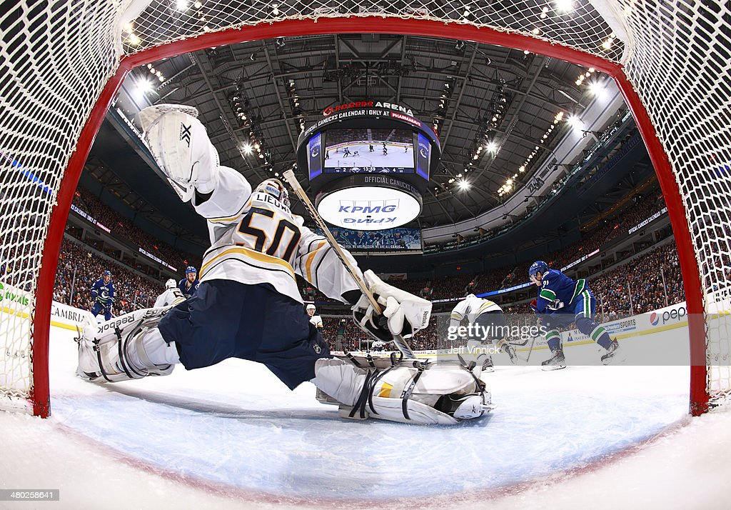 Nathan Lieuwen #50 of the Buffalo Sabres makes a save against the Vancouver Canucks during their NHL game at Rogers Arena March 23, 2014 in Vancouver, British Columbia, Canada.