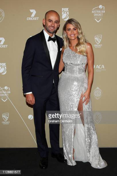 Nathan Lyon and Emma McCarthy attend the 2019 Australian Cricket Awards at Crown Palladium on February 11 2019 in Melbourne Australia