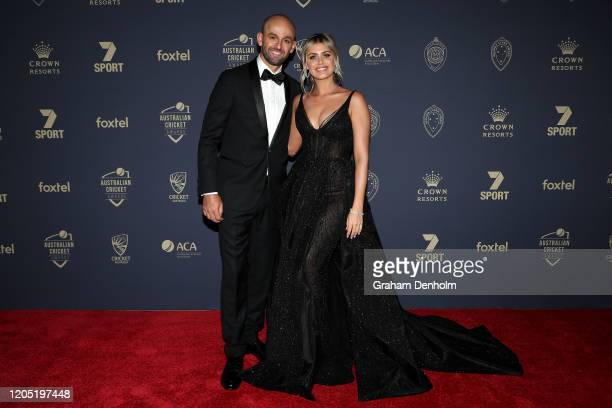 Nathan Lyon and partner Emma McCarthy arrive ahead of the 2020 Cricket Australia Awards at Crown Palladium on February 10 2020 in Melbourne Australia