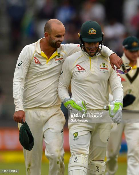 Nathan Lyon and Tim Paine of Australia during day 3 of the 3rd Sunfoil Test match between South Africa and Australia at PPC Newlands on March 24 2018...