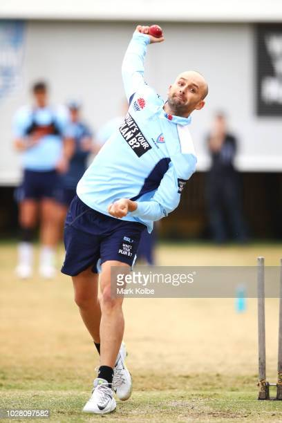 Nathan Lyon bowls during a New South Wales Blues training session at the Sydney Cricket Ground on September 7 2018 in Sydney Australia