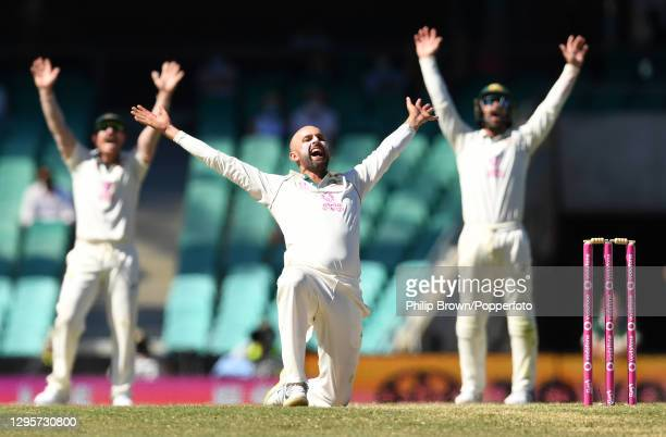 Nathan Lyon, David Warner and Matthew Wade appeal unsuccessfully for the dismissal of Hanuma Vihari during day five of the Test match in the series...