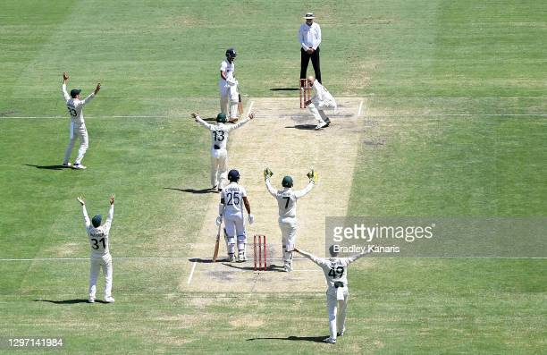 Nathan Lyon of Australia and team mates unsuccessfully appeal to the umpire during day five of the 4th Test Match in the series between Australia and...