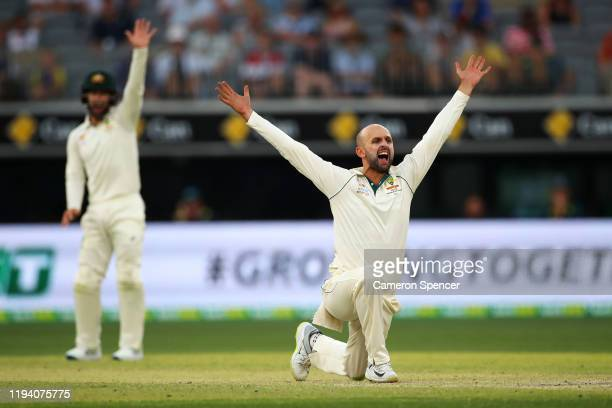 Nathan Lyon of Australia appeals during day four of the First Test match in the series between Australia and New Zealand at Optus Stadium on December...
