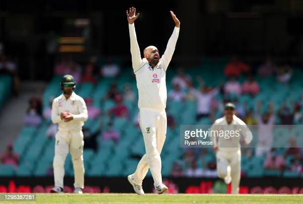 Nathan Lyon of Australia appeals for a wicket during day three of the 3rd Test match in the series between Australia and India at Sydney Cricket...