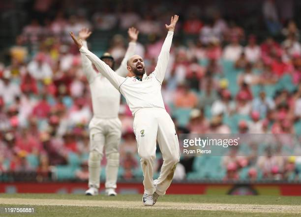 Nathan Lyon of Australia appeals for a wicket of during day three of the Third Test match in the series between Australia and New Zealand at Sydney...