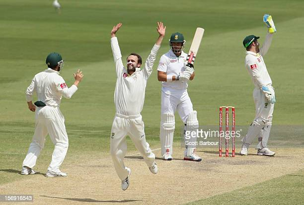 Nathan Lyon of Australia appeals for LBW against Jacques Rudolph of South Africa which was referred to the third umpire and given not out during day...