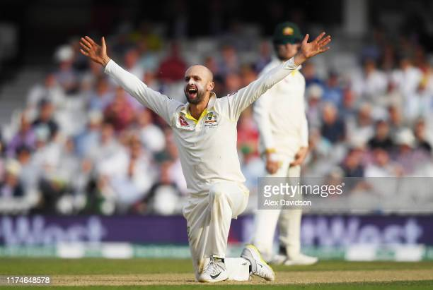 Nathan Lyon of Australia appeals for the wicket of Jos Buttler of England during Day Three of the 5th Specsavers Ashes Test between England and...