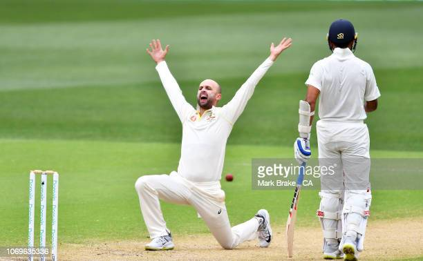 Nathan Lyon of Australia appeals for the wicket of Murali Vijay of India during day three of the First Test match in the series between Australia and...