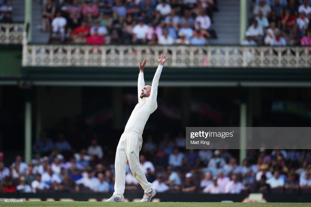 Nathan Lyon of Australia appeals successfully for the wicket of Dawid Malan of England during day four of the Fifth Test match in the 2017/18 Ashes Series between Australia and England at Sydney Cricket Ground on January 7, 2018 in Sydney, Australia.