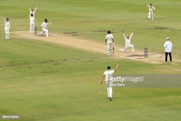 Nathan Lyon of Australia appeals successfully for the wicket of Moeen Ali of England during day five of the Third Test match during the 2017/18 Ashes...