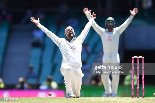 Nathan Lyon of Australia appeals unsuccessfully for the wicket Cheteshwar Pujara of India during day five of the Test match in the series between...