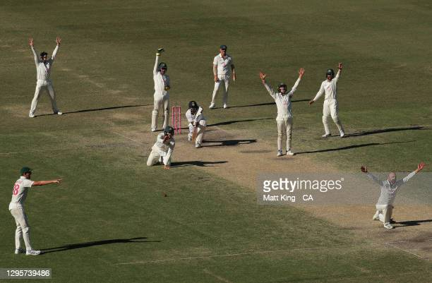 Nathan Lyon of Australia appeals unsuccessfully for the wicket of Ravichandran Ashwin of India during day five of the Test match in the series...