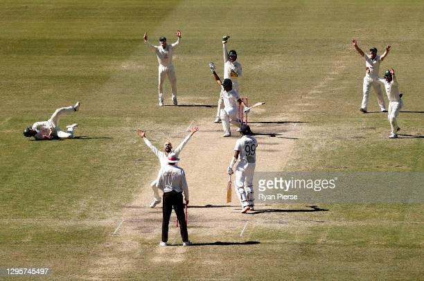 Nathan Lyon of Australia appeals unsuccessfully for the wicket of Hanuma Vihari of India during day five of the 3rd Test match in the series between...