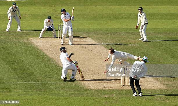 Nathan Lyon of Australia attempts to field a shot by Jonny Bairstow of England during day three of 4th Investec Ashes Test match between England and...