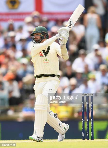 Nathan Lyon of Australia bats during day four of the Third Test match during the 2017/18 Ashes Series between Australia and England at WACA on...