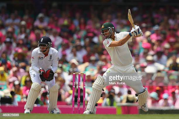 Nathan Lyon of Australia bats during day three of the Fifth Ashes Test match between Australia and England at Sydney Cricket Ground on January 5 2014...