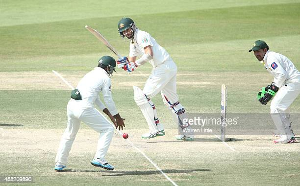 Nathan Lyon of Australia bats during Day Three of the Second Test between Pakistan and Australia at Sheikh Zayed Stadium on November 1 2014 in Abu...