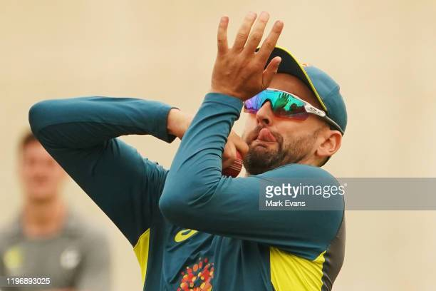 Nathan Lyon of Australia bowls during an Australian Test team training session at the Sydney Cricket Ground on January 01, 2020 in Sydney, Australia.