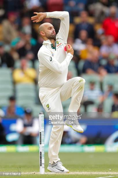 Nathan Lyon of Australia bowls during day 3 at Adelaide Oval on December 01, 2019 in Adelaide, Australia.