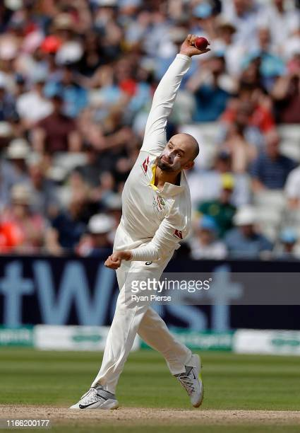 Nathan Lyon of Australia bowls during day five of the 1st Specsavers Ashes Test between England and Australia at Edgbaston on August 05, 2019 in...