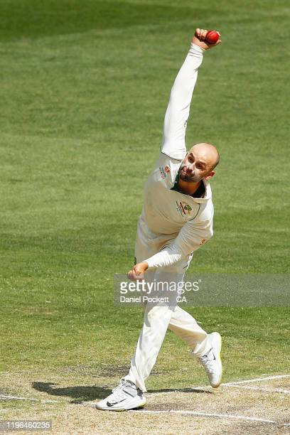 Nathan Lyon of Australia bowls during day four of the Second Test match in the series between Australia and New Zealand at Melbourne Cricket Ground...
