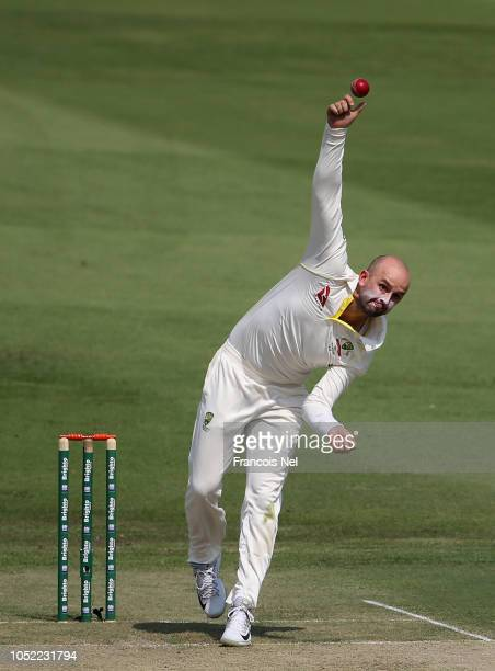 Nathan Lyon of Australia bowls during day one of the Second Test match between Australia and Pakistan at Sheikh Zayed stadium on October 16, 2018 in...